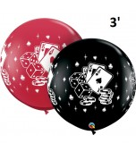 Balloon - Latex 3' Print Casino Cards & Dice Assorted