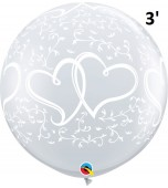 Balloon - Latex 3' Print Entwined Hearts Clear