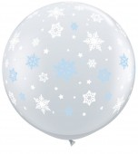 Balloon - Latex 3' Print Winter Snowflakes Clear