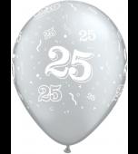 """Balloon - Latex 11"""" Print 25 Silver"""
