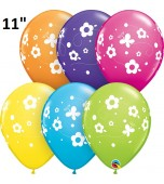 "Balloon - Latex, Print 11"" Daisies & Butterflies Assorted"
