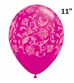 "Balloon - Latex Print 11"" Damask Wild Berry"