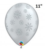 "Balloon - Latex, Print 11"" Glitter Snowflake"