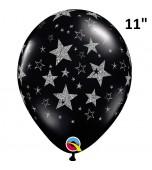 """Balloon - Latex Print 11"""" Glitter Star Black"""