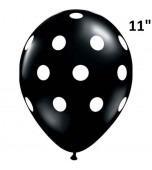 "Balloon - Latex Print 11"" Polka Dots Onyx & White"