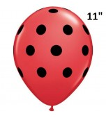 "Balloon - Latex Print 11"" Polka Dots Red & Black"
