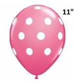 "Balloon - Latex Print 11"" Polka Dots Rose & White"