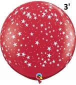 Balloon - Latex 3' Print Stars Red