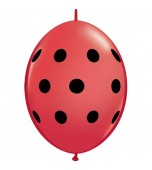 Balloons - Quick Link, Polka Dots Red & Black 6""