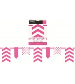 Flag Bunting - Dots & Chevrons, Hot Pink