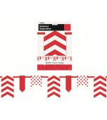 Flag Bunting - Dots & Chevrons, Red