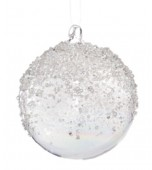 Christmas Bauble - Glass, Clear with Silver Glitter