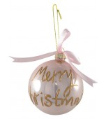 Christmas Bauble - Glass, Merry Christmas Pink