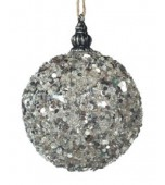 Christmas Bauble - Glass, Silver Glimmer