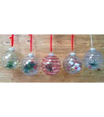 Christmas Bauble - Plastic with Decoration, Assorted