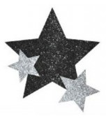 Body Jewellery - Stars, Glitter Black