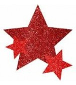 Body Jewellery - Stars, Glitter Red