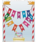 Cake Topper - Bunting, Happy Birthday