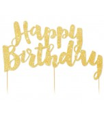 Cake Topper - Glitter Gold, Happy Birthday