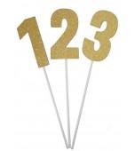 Cake Topper - Glitter, Gold Numerals