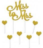 Cake Topper - Glitter Miss to Mrs, Gold