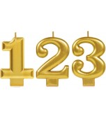 Candle - Number, Gold Metallic