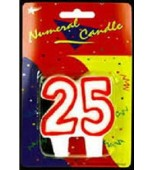 Candle, Numeral - 25 Red