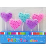 Candle Set - Hearts, Pastel 5 pk
