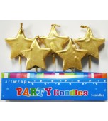 Cake Candles - Gold Stars 5 pk