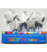 Cake Candles - Silver Stars 5 pk