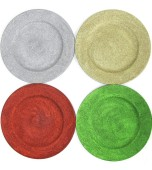 Charger Plate - Christmas Glitter, Assorted