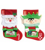 Christmas Stocking - Plush, Photo Pocket Assorted