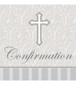 Serviettes - Cocktail, Confirmation 16 pk Silver