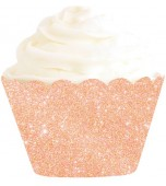 Cupcake Wrappers - Glitter, Rose Gold 12 pk