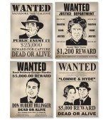 Cutout - Wanted Signs, Gangster 4 pk