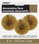 Decorative Fans - Mini, Gold 3 pk