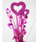 Decorative Pick - Double Heart, Hot Pink