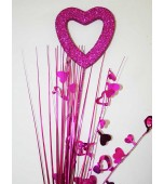 Decorative Pick - Heart Silhouette, Hot Pink