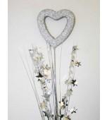 Decorative Pick - Heart Silhouette, Silver