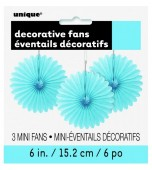 Decorative Fans - Mini, Pale Blue 3 pk