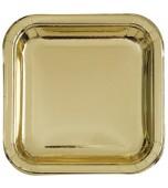 Plates - Dessert, Square Metallic Gold 8 pk