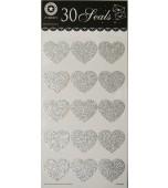 Envelope Seals - Glitter Hearts, Silver 30 pk