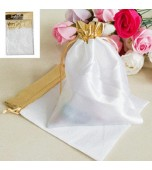 Gift Bags - White, Gold Trim 2 pk