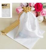Gift Bags - White, Silver Trim 2 pk