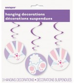 Hanging Decoration - Swirls, Easter Bunny 3 pk