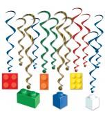 Hanging Decoration - Whirls, Building Blocks 12  pk