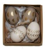 Hanging Ornaments - Mini Easter Eggs, Gold & Silver 4 pk