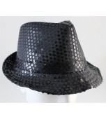 Hat - Fedora, Sequin Black