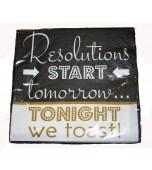 Cocktail Serviettes - Resolutions Start Tomorrow 16 pk