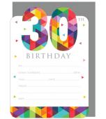 Invitation & Envelope Set - 30th Birthday 16 pk